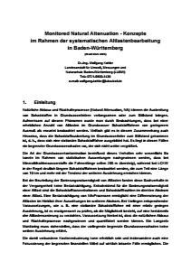Bild der Titelseite der Publikation: Monitored Natural Attenuation - Konzepte im Rahmen der systematischen Altlastenbearbeitung in Baden-Württemberg