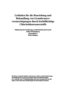 Bild der Titelseite der Publikation: Leitfaden für die Beurteilung und Behandlung von Grundwasserverunreinigungen durch leichtflüchtige Chlorkohlenwasserstoffe