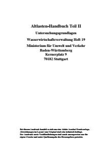 Bild der Titelseite der Publikation: Altlastenhandbuch Teil II, Untersuchungsgrundlagen