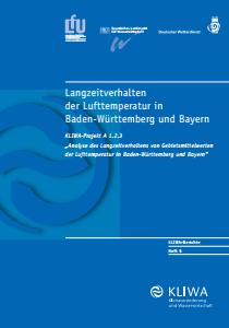 Bild der Titelseite der Publikation: Langzeitverhalten der Lufttemperatur in Baden-Württemberg und Bayern