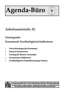 Bild der Titelseite der Publikation: Arbeitsmaterialie 032: Einstiegsinfo Kommunale Nachhaltigkeits-Indikatoren