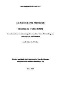 Bild der Titelseite der Publikation: Klimatologische Messdaten von Baden-Württemberg
