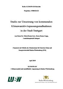 Bild der Titelseite der Publikation: Studie zur Umsetzung von kommunalen Klimawandel-Anpassungsmaßnahmen in der Stadt Stuttgart