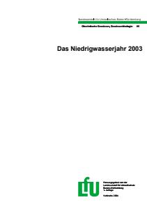 Bild der Titelseite der Publikation: Das Niedrigwasserjahr 2003
