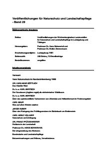Bild der Titelseite der Publikation: Band 20 - Veröffentlichungen der Württembergischen Landesstellen  für Naturschutz und Landschaftspflege in Ludwigsburg und Tübingen