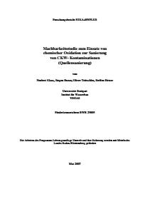 Bild der Titelseite der Publikation: Machbarkeitsstudie zum Einsatz von chemischer Oxidation zur Sanierung von CKW- Kontaminationen (Quellensanierung)