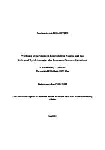 Bild der Titelseite der Publikation: Wirkung experimentell hergestellter Stäube auf das Zell- und Zytokinmuster der humanen Nasenschleimhaut