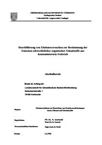 Bild der Titelseite der Publikation: Durchführung von Elutionsversuchen zur Bestimmung der Emission schwerlöslicher organischer Schadstoffe aus kontaminiertem Erdreich