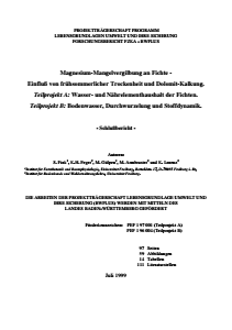 Bild der Titelseite der Publikation: Magnesium-Mangelvergilbung an Fichte - Einfluss von frühsommerlicher Trockenheit und Dolomit-Kalkung