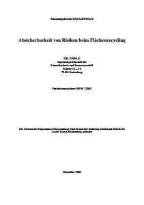 Bild der Titelseite der Publikation: Arbeitshilfe Absicherbarkeit von Risiken beim Flächenrecycling
