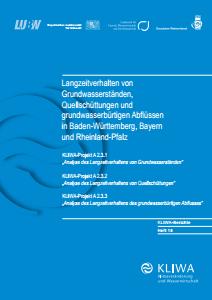 Bild der Titelseite der Publikation: Langzeitverhalten von Grundwasserständen, Quellschüttungen und grundwasserbürtigen Abflüssen in Baden-Württemberg, Bayern und Rheinland-Pfalz