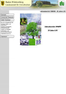 Bild der Titelseite der Publikation: Jahresbericht 1998/99 der Landesanstalt für Umweltschutz Baden-Württemberg - 25 Jahre LfU