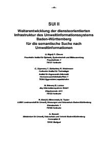 Bild der Titelseite der Publikation: SUI II - Weiterentwicklung der diensteorientierten Infrastruktur des Umweltinformationssystems Baden-Württemberg für die semantische Suche nach Umweltinformationen