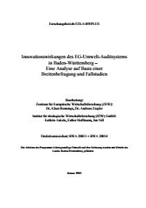 Bild der Titelseite der Publikation: Innovationswirkungen des EG-Umwelt-Auditsystems in Baden-Württemberg - Eine Analyse auf Basis einer Breitenbefragung und Fallstudien