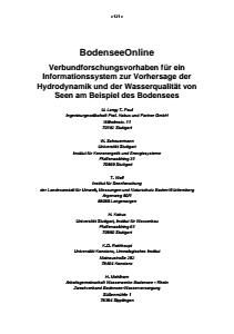 Bild der Titelseite der Publikation: BodenseeOnline - Verbundforschungsvorhaben für ein Informationssystem zur Vorhersage der Hydrodynamik und der Wasserqualität von Seen am Beispiel des Bodensees