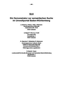 Bild der Titelseite der Publikation: SUI - Ein Demonstrator zur semantischen Suche im Umweltportal Baden-Württemberg