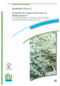 Bild der Titelseite der Publikation: Kontrolle des Japan-Knöterichs an Fließgewässern. Teil II