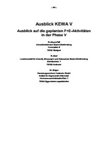 Bild der Titelseite der Publikation: Ausblick KEWA V - Ausblick auf die geplanten F+E-Aktivitäten in der Phase V