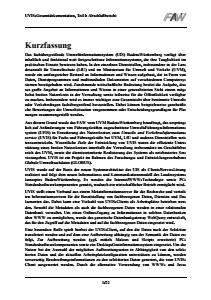 Bild der Titelseite der Publikation: Weiterentwicklung des Umwelt-Führungs-Informationssystems (UFIS) zum Umwelt- und Verkehrsinformationsservice (UVIS)