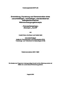 Bild der Titelseite der Publikation: Entwicklung, Erprobung und Demonstration eines zukunftsfähigen, nachhaltigen, standardisierten solar-geothermischen Wärmeversorgungskonzepts