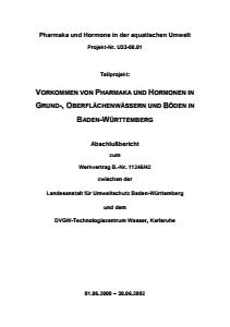 Bild der Titelseite der Publikation: Pharmaka und Hormone in der aquatischen Umwelt - Teilbericht I