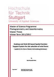 Bild der Titelseite der Publikation: Desktop and Web GIS based Spatial Decision, Support System for site selection of wind farms