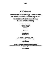 Bild der Titelseite der Publikation: KFÜ-Portal - Konzeption und Prototyp eines Portals als WebGenesis®-Anwendung in der Kernreaktorfernüberwachung Baden-Württemberg