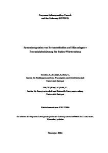 Bild der Titelseite der Publikation: Systemintegration von Brennstoffzellen auf Kläranlagen - Potenzialabschätzung für Baden-Württemberg