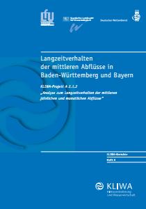 Bild der Titelseite der Publikation: Langzeitverhalten der mittleren Abflüsse in Baden-Württemberg und Bayern