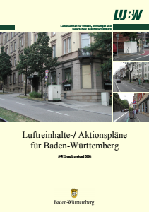 Bild der Titelseite der Publikation: Luftreinhalte-/ Aktionspläne für Baden-Württemberg