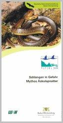 Bild der Titelseite der Publikation: Schlangen in Gefahr - Mythos Äskulapnatter