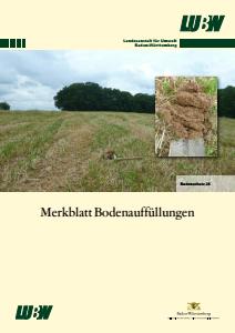 Bild der Titelseite der Publikation: Merkblatt Bodenauffüllungen