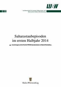 Bild der Titelseite der Publikation: Saharastaubepisoden im ersten Halbjahr 2014