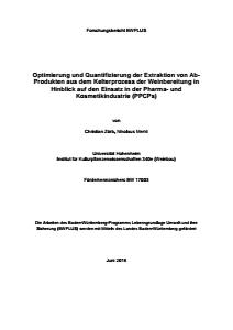 Bild der Titelseite der Publikation: Optimiering und Quantifizierung der Extraktion von AB-Produkten aus dem Kelterprozess der Weinbereitung im Hinblick auf den Einsatz in der Pharma- und Kosmetikindustrie (PPCPs)