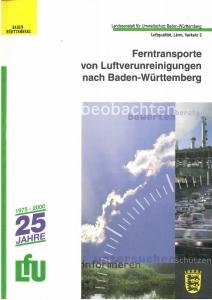 Bild der Titelseite der Publikation: Ferntransporte von Luftverunreinigungen nach Baden-Württemberg