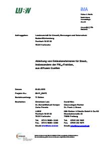Bild der Titelseite der Publikation: Ableitung von Emissionsfaktoren für Staub, insbesondere der PM10-Fraktion, aus diffusen Quellen