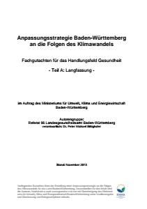 Bild der Titelseite der Publikation: Anpassungsstrategie an den Klimawandel - Fachgutachten für das Handlungsfeld Gesundheit