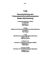Bild der Titelseite der Publikation: TrIS - Neuentwicklung des Trinkwasserinformationssystems Baden-Württemberg