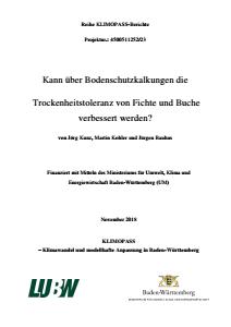 Bild der Titelseite der Publikation: Kann über Bodenschutzkalkungen die Trockenheitstoleranz von Fichte und Buche verbessert werden?