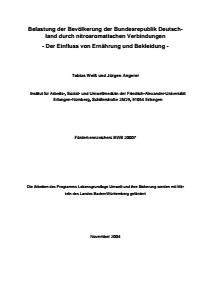 Bild der Titelseite der Publikation: Belastung der Bevölkerung der Bundesrepublik Deutschland durch nitroaromatische Verbindungen - Der Einfluss von Ernährung und Bekleidung -