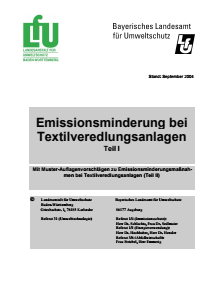 Bild der Titelseite der Publikation: Emissionsminderung bei Textilveredlungsanlagen