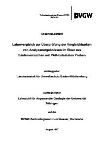 Bild der Titelseite der Publikation: Laborvergleich zur Überprüfung der Vergleichbarkeit von Analysenergebnissen im Eluat aus Säulenversuchen mit PAK-belasteten Proben - Abschlußbericht August 1997