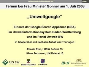 Bild der Titelseite der Publikation: Einsatz der Google Search Appliance (GSA) im Umweltinformationssystem Baden-Württemberg und im Portal Umwelt-BW