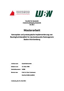 Bild der Titelseite der Publikation: Konzeption und prototypische Implementierung von Routingfunktionalität für das landesweite Radwegenetz Baden-Württemberg
