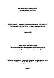 Bild der Titelseite der Publikation: Ermittlung der Feinstaubemissionen in Baden-Württemberg und Betrachtung möglicher Minderungsmaßnahmen