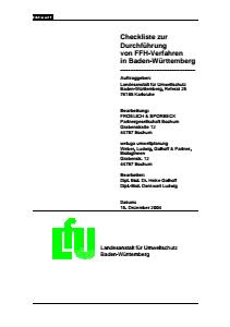 Bild der Titelseite der Publikation: Checkliste zur Durchführung von FFH-Verfahren in Baden-Württemberg