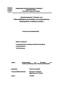 Bild der Titelseite der Publikation: Bestimmung der Emission von Mineralölkohlenwasserstoffen aus kontaminierten Bodenproben in Säulenversuchen