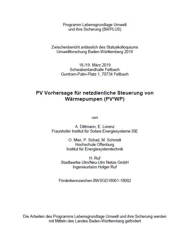 Bild der Titelseite der Publikation: PV Vorhersagen für netzdienliche Steuerung von Wärmepumpen