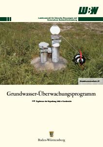 Bild der Titelseite der Publikation: Grundwasserüberwachungsprogramm. Ergebnisse der Beprobung 2009 - Kurzbericht