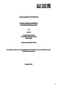 Bild der Titelseite der Publikation: Internet-Katalog betrieblicher Umweltinformationssysteme